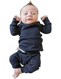 MAYOGO Ropa para bebés Conjunto, Tops Camiseta Manga Largo + Pantalones Largos Color sólido Ropa Bebe Recien Nacido Otoño Ropa de Dormir para Bebe Disfraz Premium de 0-24 Mese