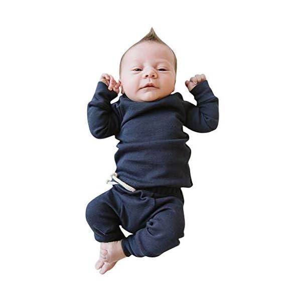 MAYOGO Ropa para bebés Conjunto, Tops Camiseta Manga Largo + Pantalones Largos Color sólido Ropa Bebe Recien Nacido… 1