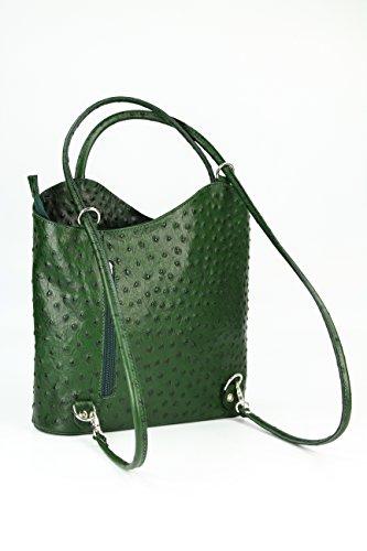"""BELLI ital. Ledertasche """"Belli Backpack"""" 2in1 Rucksack Handtasche Schultertasche - Freie Farbwahl - 28x28x8 cm (B x H x T) Grün strauss"""