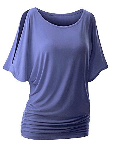 SMITHROAD Damen T-Shirt Fledermaus Batwing Shrit Top Rundhals Ausschnitt Kurzarm Loose Fit Einfarbig Lila 02