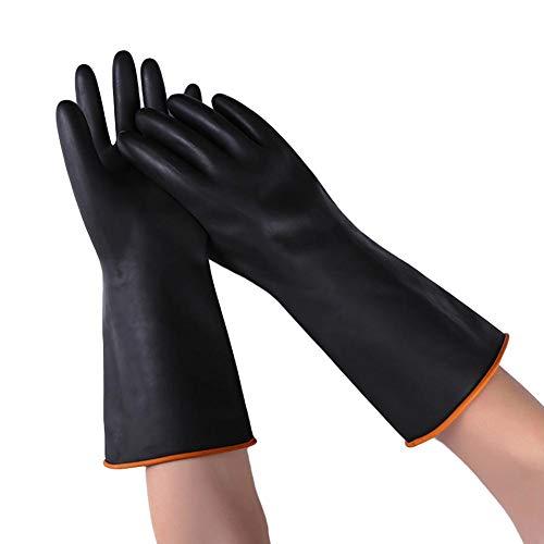guanti gomma Zhuotop Heavy Duty Lattice Guanti Antiscivolo Resistente Chimico Industriale Gomma Guanti protettivi Guanti da Lavoro di Sicurezza