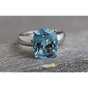 Blautopas Sterling Silber Ring US-Größe 6 / Diameter 16.5 (norway)