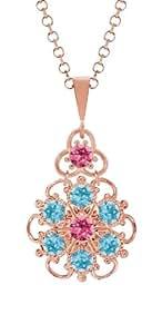 Lucia Costin Silver, Pink, Light Blue Crystal Pendant, Delicate Embellished