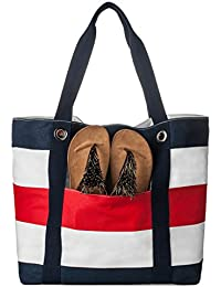 La Cle Large Capacity Beach Tote Shoulder Bag(Navy/ Red Stripe)
