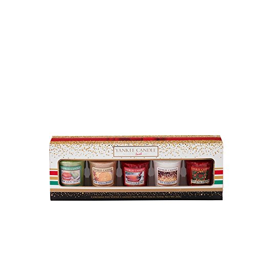 Yankee Candle 1521553 Holiday Party 5 votive Gift Set Coffret cadeau 5 bougies votives, multicolore, 4.7 x 4.7 x 5 cm