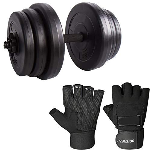 CCLIFE Hantel Kurzhantel 2er Set 20 30 40kg Gewichte Hantelset mit Handschuhe Kunststoff, Farbe:30kg+Handschuhe