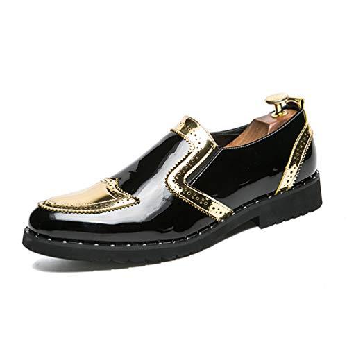 Qianliuk Männer Brogues Dress Schuhe Büro Slip On Flats Pointed Toe Schuhe