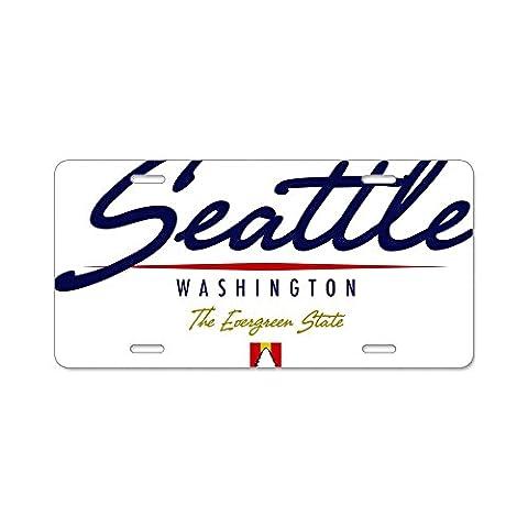 CafePress Seattle Script W Aluminum License Plate - Standard Multi-color