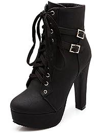 0e9f4b5275f1 Blivener Women Sexy Ankle Boots High Heel Western Heel Lace Up Platform  Short Boots