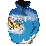 LUCKYCAT Weihnachten Unisex 3D Druck Hoodies Pullover Langarm Kapuzenpullover Hip Hop Sweatshirts Kapuzenpulli