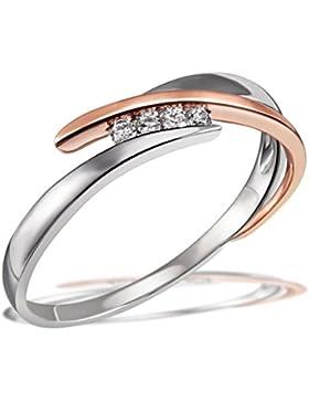 Goldmaid Damen-Ring 585 Rotgold und 925 Sterlingsilber 4 Brillanten