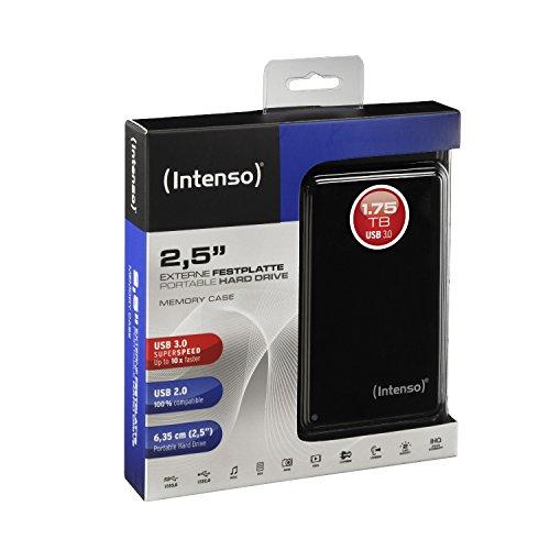 Intenso Memory Case 1,75 TB Externe Festplatte (6,35 cm (2,5 Zoll) 5400 U/min, 8 MB Cache, USB 3.0) schwarz