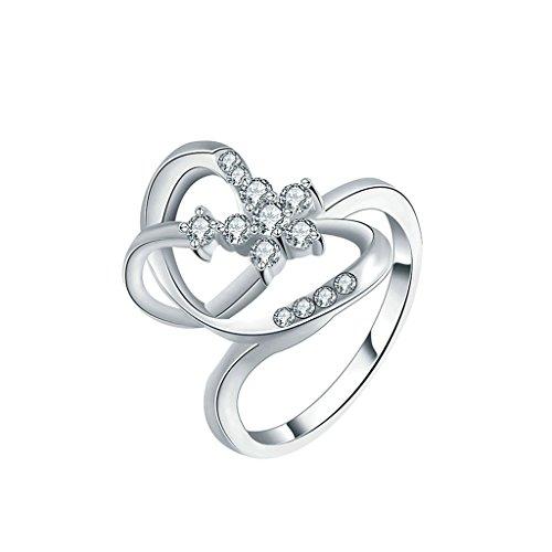 Gnzoe Gioielli,Placcato argento Moda Cubic Zirconia Cuore Matrimonio Anello per Donna Dimensione 17