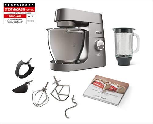 Kenwood Chef XL Titanium KVL8320S - leistungsstarke Küchenmaschine, 6,7 l Rührschüssel mit Innenbeleuchtung, Easy-Lift & Interlock-Sicherheitssystem, 1700 Watt, inkl. 5-teiligem Patisserie-Set, silber Le Gourmet Chef Set