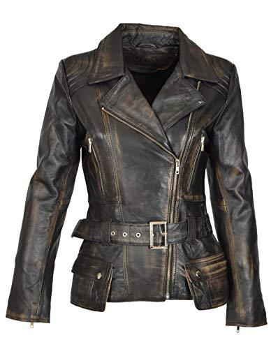 A1 FASHION GOODS Damen Biker Lederjacke SCHWARZ Vintage Abreiben Slim Fit Taille Gürtel Mantel - Coco (S - EU 36) -