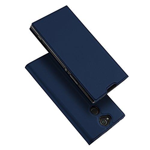 DUX DUCIS Sony Xperia XA2 Hülle, Handyhülle [Standfunktion] [1 Kartenfach] [Magnetverschluss] [Blau] Ultra Dünn, Slim Flip Case Cover,Ledertasche Schutzhülle für Sony Xperia XA2 (Skin Pro Series)
