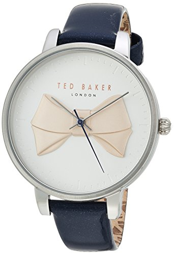 Ted Baker Women's 'BROOK' Quartz Stainless Steel and Leather Casual Watch, Color:Blue (Model: TE15197001)