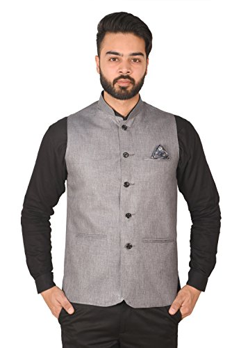 Wearza Men's Woven Cotton Blend Sleevless Rounded Bottom Nehru and Modi Jacket...