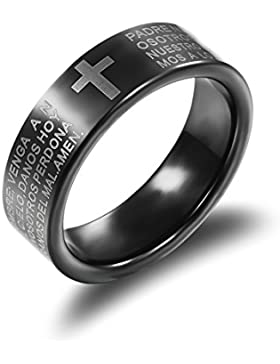 Oneworld 7Mm Tungsten Carbide Bible/Cross Carved Ring Concise Design Black Ip-Plated Retro Ehering Srcatch Proof...