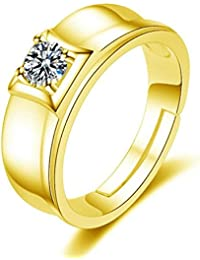 Exclusive Limited Edition 24KT Gold Swarovski Solitaire Adjustable Mens Rings - B078Q371QV