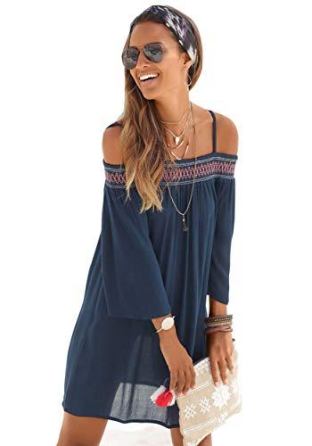 Finejo Damen Kleid Baumwolle Schulterfrei Strandkleid Beiläufig Sommerkleid Frauen Ärmellos Strand Kleid Boho Trägerkleid Schwarz Weiß Blau