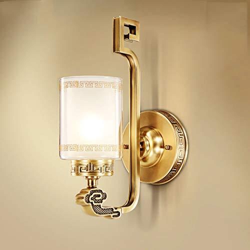 Klassische Glasschirm Wandleuchte, Gold Kupfer Badezimmer Vanity Wandleuchte, LED 1-Licht Wandleuchten für Schlafzimmer Wohnzimmer Esszimmer Foyers Küche,Brass -