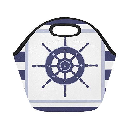 Isolierte Neopren-Lunch-Tasche Blue Helm Wheel Frame Navy Große wiederverwendbare thermische dicke Lunch-Tragetaschen für Lunch-Boxen für den Außenbereich, Arbeit, Büro, Schule