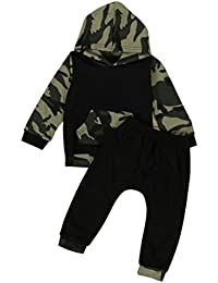Ensemble à Manches Longues, Internet Bébé Garçon Fille Sweat à capuche en camouflage + Pantalon Coton