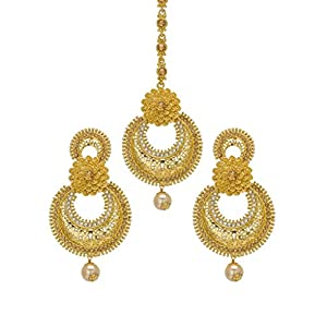 Bindhani Traditional Jewellery Bridal Earring Mang Tika Wedding Maang Tikka For Women & Teen Girls