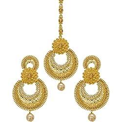 Bindhani Traditional Jewellery Bridal Earring Mang Tika Wedding Maang Tikka For Women & Teen Girls