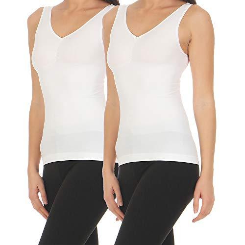 2er Set Damen Shirt Form-Unterhemd Shapewear Bauchweg- Hemd Mieder Unterwäsche CL 837 (44/46, Weiß/Weiß)