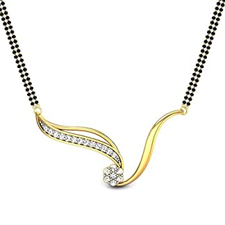 Candere By Kalyan Jewellers Jasmine 14k Yellow Gold and Diamond Mangalsutra Necklace