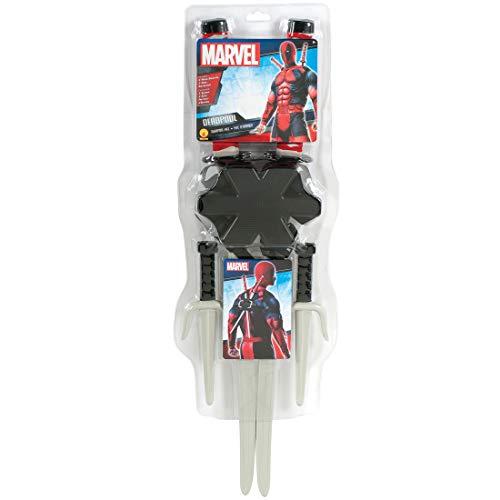 NET TOYS Deadpool Waffen-Set | Schwarz-Grau | Extravagantes -Kostüm-Zubehör Samurai-Schwerter & Ninja-Messer mit Rückenhalterung geeignet für Fasching & Karneval