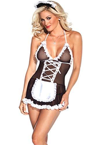 Sereney Mujer Sexy Criada Disfraz Lace Lencería Hot Halter Picardias Camisón Transparente Cuello V Bata Maid Costume Cosplay Large