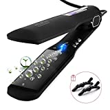 Huachi Hair Straighteners Flat Iron with Wide Plates Adjustable Temperatures, 1.5 Inch Ionic