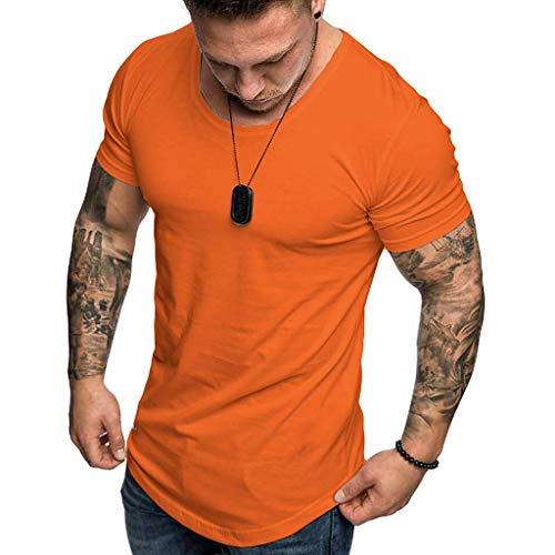 Camisetas Hombre Manga Corta SHOBDW 2019 Blusas Color Sólido Cómodo Tallas Grandes Tops Verano Camisetas Hombre Basicas Cuello Redondo Venta de liquidación M-3XL(Naranja,S)