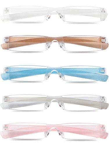 KOOSUFA Lesebrille Damen Herren Randlose Transparent Sehhilfe Leichter Lesehilfe mit Etui +1.0D +1.5D +2.0D +2.5D +3.0D +3.5D +4.0D (1.5x, 5 Stück Set(Weiß+Rosa+Grau+Braun+Blau))