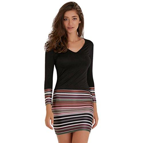 UFACE Damen Striped Maxi Boho Langarm Kleid Abendkleid (Schwarz, S)
