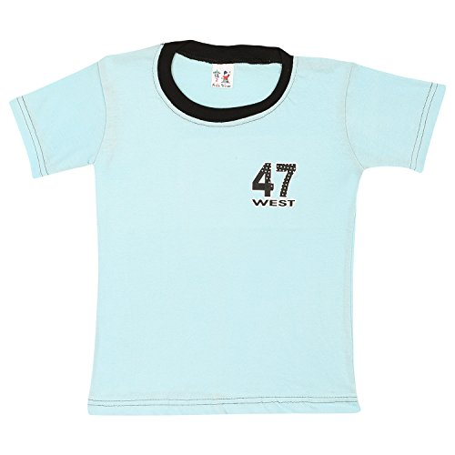 S.R.KIDS Cotton Baby Boys Rib Neck Blue Tshirt  available at amazon for Rs.98