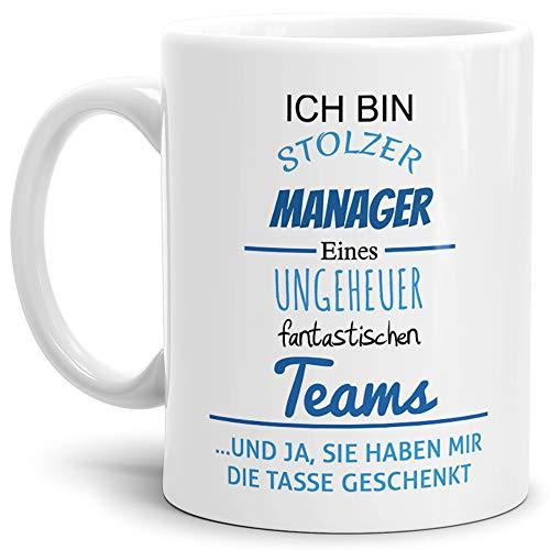 Fantastisches Geschenk (Tasse mit Spruch Stolzer Manager Eines Ungeheuer Fantastischen Teams Weiss - Abschieds-Geschenk/Büro / Arbeit)