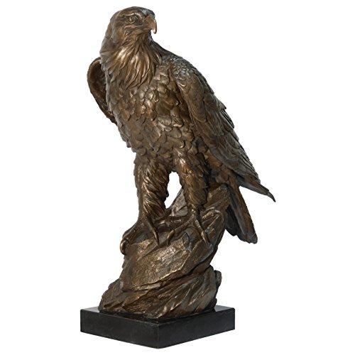 Ellas-Wohnwelt Adler Skulptur Bronze 50cm Marmorplatte große Vogel Tierfigur Deko Haus Garten