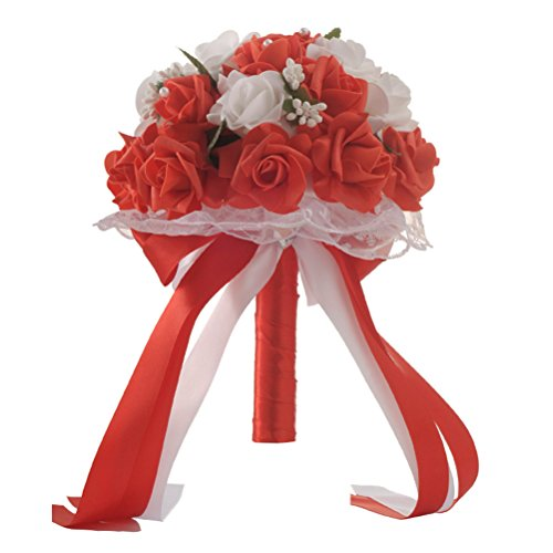 Luoem bouquet da sposa damigella d' onore bouquet di fiori in raso di seta artificiale per festa di nozze (rosso)