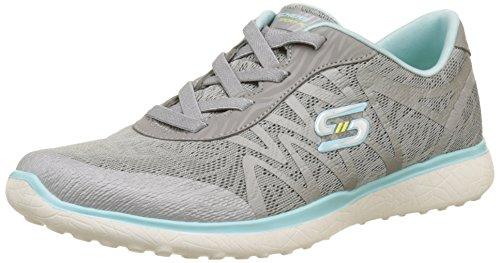 Skechers Microburst-Showdown, Zapatillas de Entrenamiento para Mujer, Gris (Grey/Blue), 37 EU