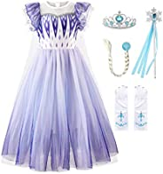 JerrisApparel Niña Princesa Disfraz Nieve Fiesta Navidad Carnaval Vestido