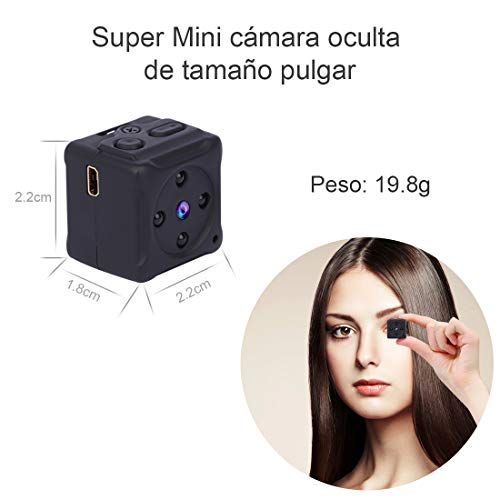Mini Camara Espia Oculta Videocámara,NIYPS 1080P HD Cámara Vigilancia Portátil Secreta Compacta con Detector de Movimiento IR Visión Nocturna,  Camaras de Seguridad Pequeña Interior/Exterior