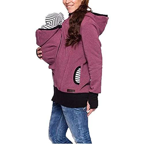 Sodhue 3 in 1 Tragejacke Kapuzenjacke Multifunktions Känguru Jacke für Mama und Baby Damen Mutterschaft schwanger Sweatshirt Baby Halter Tragepullover Polar Fleece übergangsjacke Lila Polar-fleece