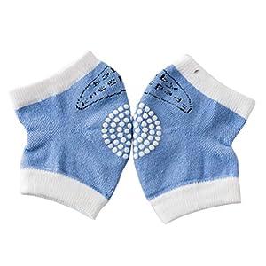 Bozaap - Rodilleras Antideslizantes para bebés y niños pequeños, Rodilleras Cortas con Puntos de Goma Azul Azul 1