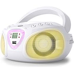 auna Roadie - Radio-CD, Chaîne stéréo Boombox, Lecteur CD, Port USB, MP3, Tuner Radio AM/FM, Bluetooth 2.1/EDR, Entrée RCA-AUX-Jack 3,5 mm, LED Multicolore, 2x1,5W (RMS), Blanc