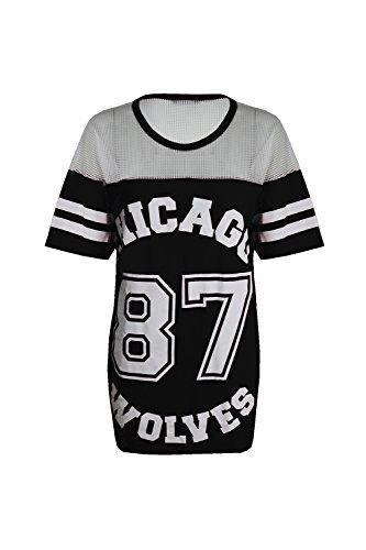 Para mujer Chicago de lobos de patinete pelota de béisbol 87 pantalones de T-camiseta de manga corta e instrucciones para hacer vestidos de seguridad para anclaje en costura para camisetas de mujer