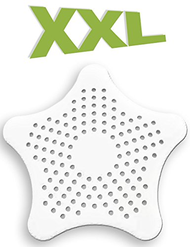 HOMETOOLS.EU® - XXL großes Silikon Abfluss-Sieb mit Saugnäpfen | für Küche Spüle Bad Wanne Dusche gegen Haare, Krümel | 15 x 15cm, weiss (Waschbecken Stöpsel-sieb)
